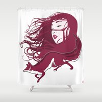 kitsune Shower Curtains featuring Kitsune by Stevyn Llewellyn