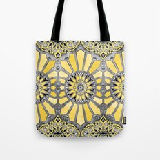 Sunny Yellow Radiant Watercolor Pattern Tote Bag