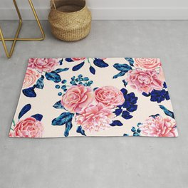 Girly Pink Navy Blue Country Painted Flowers Rug