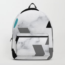 Abstract Chevron Arrows Black and Teal Marble Print Backpack