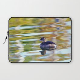 Pied Billed Grebe with Reflection at the Lake by Reay of Light Laptop Sleeve