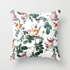 Floral and Winged Darter Throw Pillow