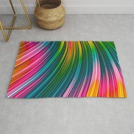 Color Prism Burst Wave. Abstract Strands Rug
