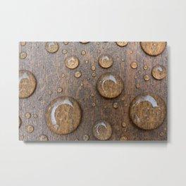 Water Drops on Wood 4 Metal Print