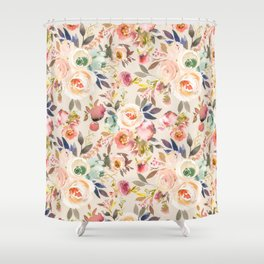 Hand painted ivory pink brown watercolor country floral Shower Curtain