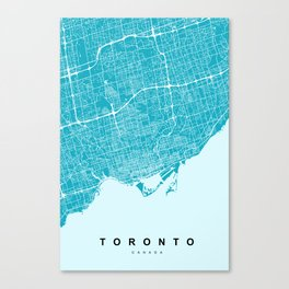 Toronto Map   Canada   Blue & Cyan   More Colors, Review My Collections Canvas Print