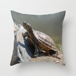 Red-Eared Slider Turtle Throw Pillow
