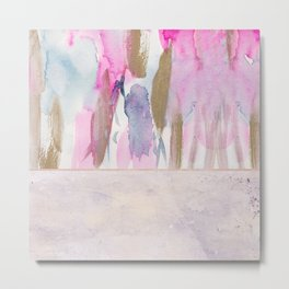 Rose Blush, Dreamy Pink And Blue Modern Abstract Art Metal Print