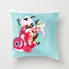 Scales of Pink & White Throw Pillow