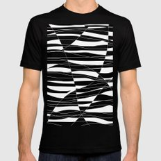 Carved Black and White Wave MEDIUM Black Mens Fitted Tee