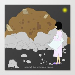 melancholy olive has incurable insomnia. Canvas Print