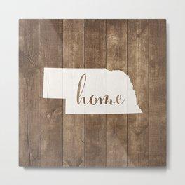 Nebraska is Home - White on Wood Metal Print
