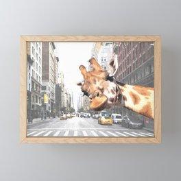 Selfie Giraffe in New York Framed Mini Art Print