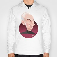 picard Hoodies featuring Captain Jean-Luc Picard by Greene Graphics