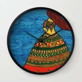 By The Sea madhubani painting Wall Clock
