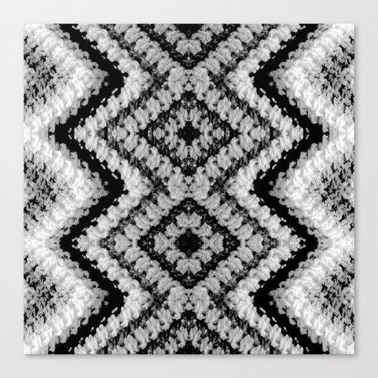 Black White Diamond Crochet Pattern Canvas Print