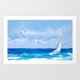 White Yacht Seascape Art Print