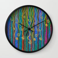 carnival Wall Clocks featuring Carnival by Lindel Caine