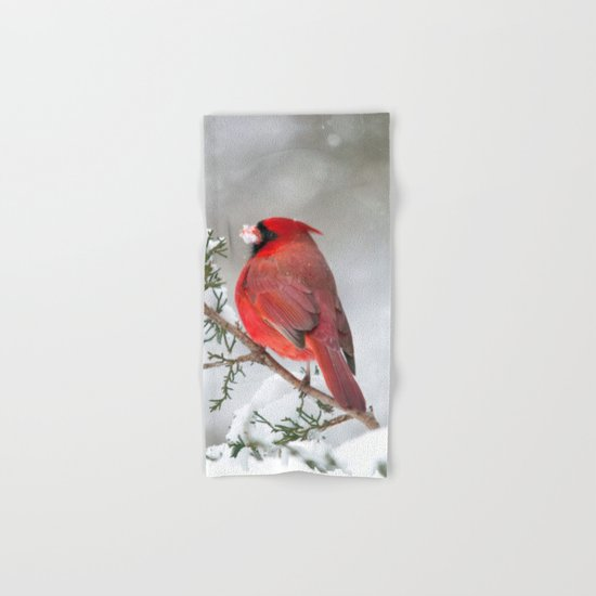 Snow on His Face (Northern Cardinal) Hand & Bath Towel