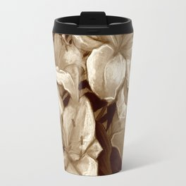 White Lilies and Palm Leaf in brownscale Travel Mug