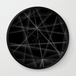 black and white random lines Wall Clock