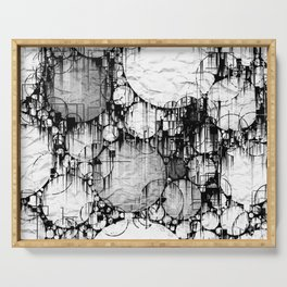 Glitch Black & White Circle abstract Serving Tray