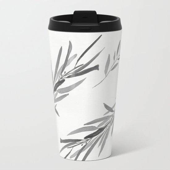Eucalyptus leaves black and white Metal Travel Mug