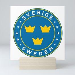 Sweden, Sverige, 3 crowns, circle Mini Art Print