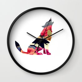Loup du printemps-  Spring wolf Wall Clock