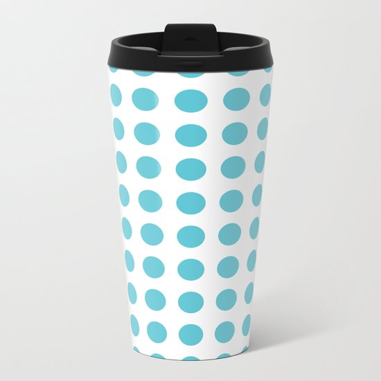 Simply Polka Dots in Seaside Blue Metal Travel Mug