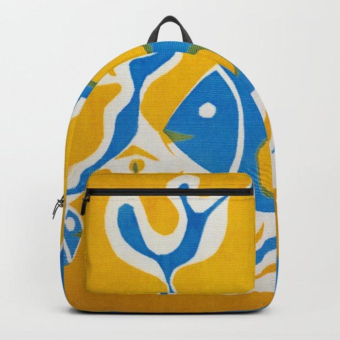 Screenprint Gold and Fish Backpack