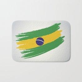 Abstract Brazil Flag Design Bath Mat