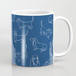 Basset Hounds Pattern on Navy Background Coffee Mug
