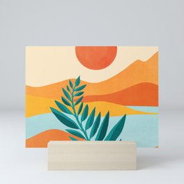 Mountain Sunset / Abstract Landscape Illustration Mini Art Print