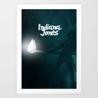indiana jones Art Prints featuring Indiana Jones by SG Posters