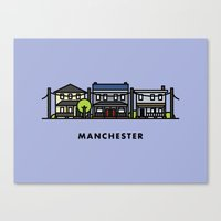 manchester Canvas Prints featuring Manchester by Justin Tran
