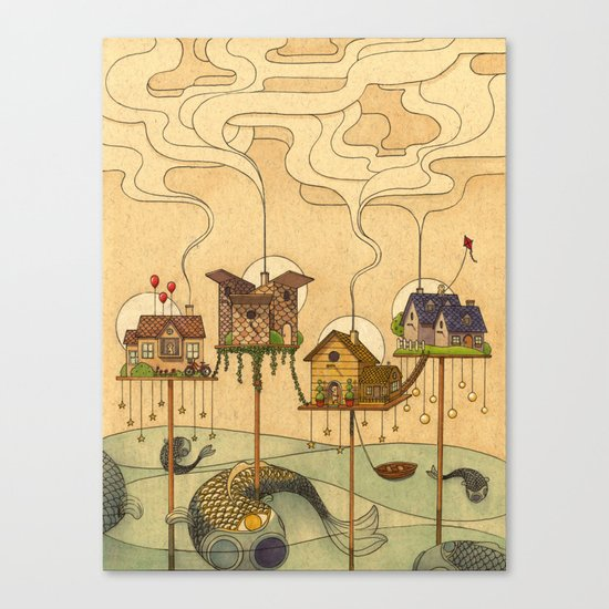 Sea Houses Canvas Print