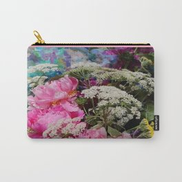 Pink Peonies & Queen Ann's Lace Bouquet Carry-All Pouch