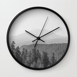 Lookout Ridge - Black and White Mountain Nature Photography Wall Clock