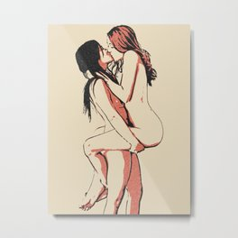 Girls love to play naughty, dirty, sexy... Hot lesbians kissing, erotic nude, sensual gay woman art Metal Print