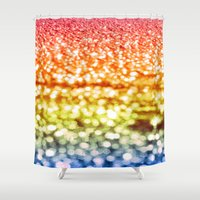 glitter Shower Curtains featuring Rainbow Glitter Sparkles by WhimsyRomance&Fun