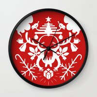 xmas Wall Clocks featuring XMAS by RUEI