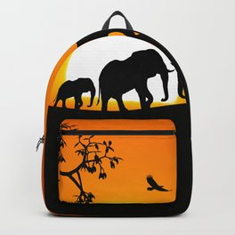 Elephant silhouettes at sunset Backpack