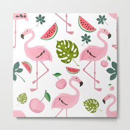Flamingo Bird Tropical Palm Pattern Metal Print