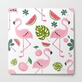 Flamingo Bird Tropical Palm Pattern Metal Print