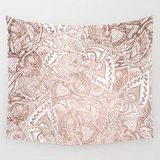 Chic hand drawn rose gold floral mandala pattern Wall Tapestry