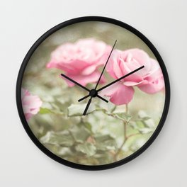 Textured and Pastel roses (vintage flower photography) Wall Clock