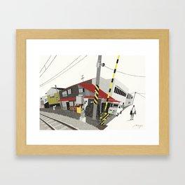 Houses Beside Tracks, Nagano Framed Art Print