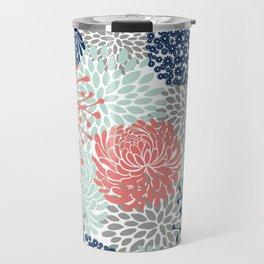 Floral Print - Coral Pink, Pale Aqua Blue, Gray, Navy Travel Mug