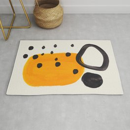 Unique Abstract Unique Mid century Modern Yellow Mustard Black Ring Dots Rug